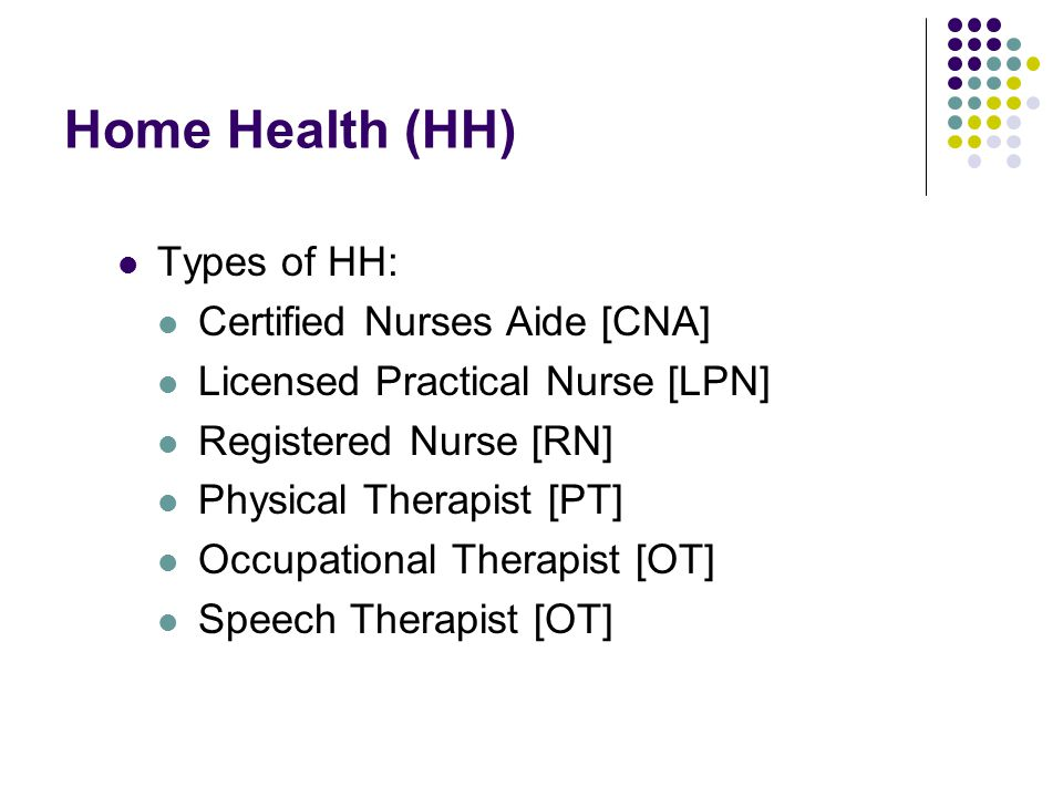 Home Health (HH) Types of HH: Certified Nurses Aide [CNA]
